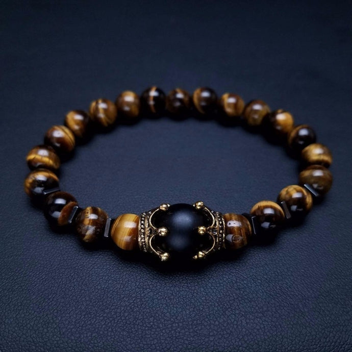Luxury Crown Tiger Eye Stone Bead Bracelet