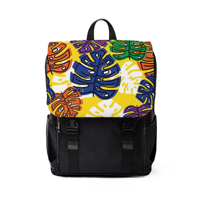 Yellow Tropical leaves Shoulder Backpack