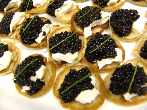 Luxury Canapes of Caviar and Blinis Delivered to your door for your canapes catering cocktail party
