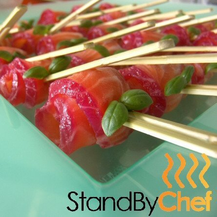 Salmon Canapes Catering made to order and delivered to your party