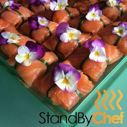 Beetroot marinated salmon roses canape delivery for Canape delivery