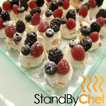 Mini pavlovas cream and berries for Canape delivery