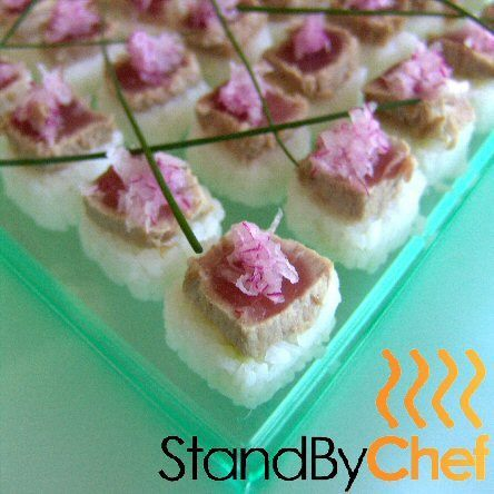 Tuna tataki on sticky rice and ginger cake for Canape delivery london