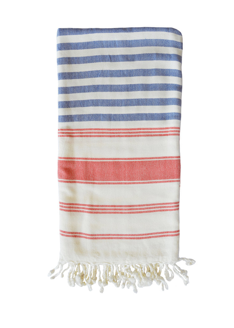 LUXE BAMBOO TOWEL + SARONG - ROYAL / RED