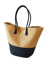 Load image into Gallery viewer, STRAW SHOPPER BASKET - BLACK