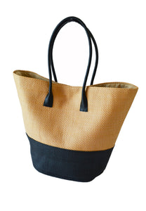 STRAW SHOPPER BASKET - BLACK