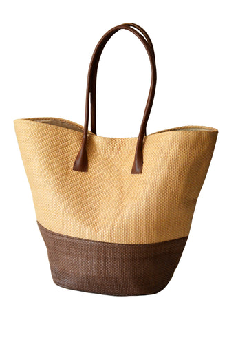 STRAW SHOPPER BASKET - MOCHA
