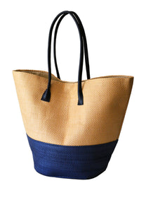 STRAW SHOPPER BASKET - NAVY