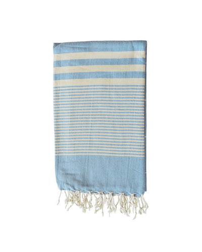 MYKONOS COTTON TOWEL + SARONG - PALE BLUE