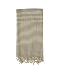 MYKONOS COTTON TOWEL + SARONG - STONE