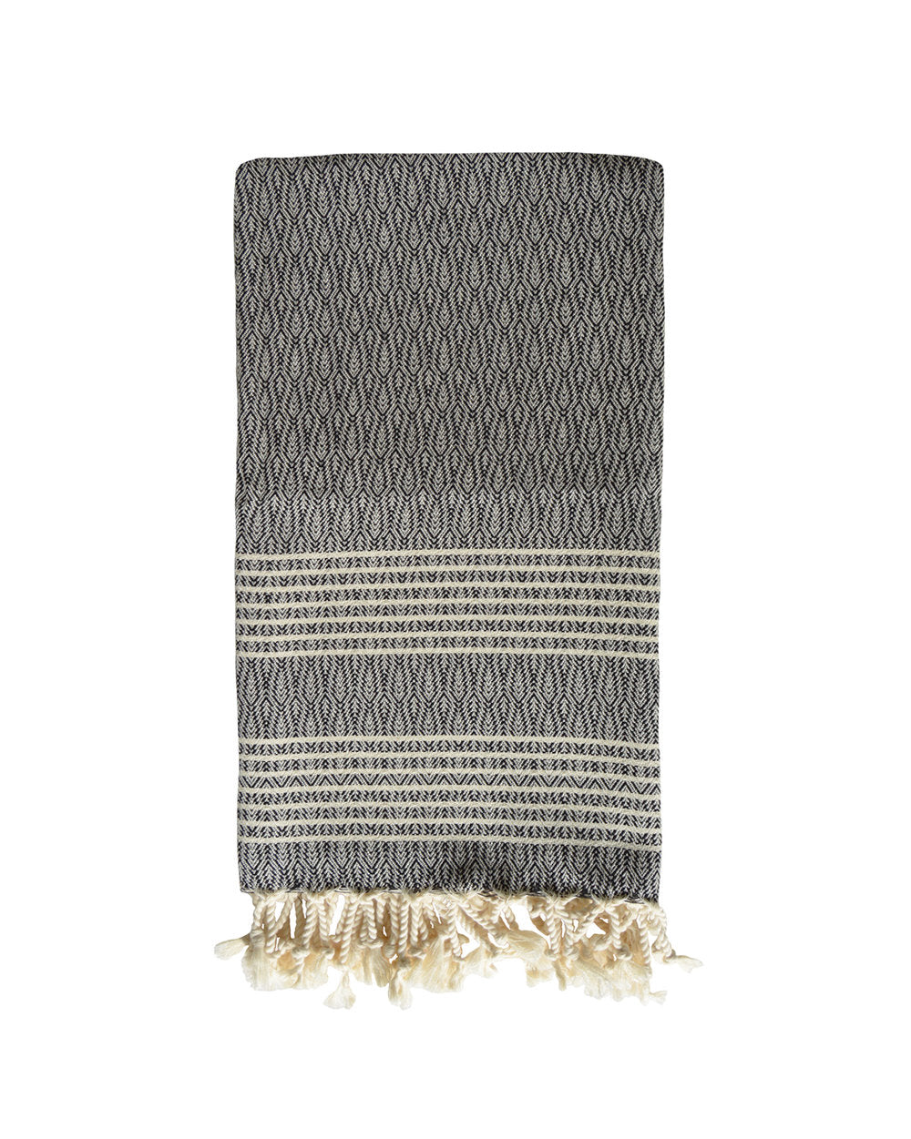 LIVADIA TEXTURED TOWEL + THROW - BLACK