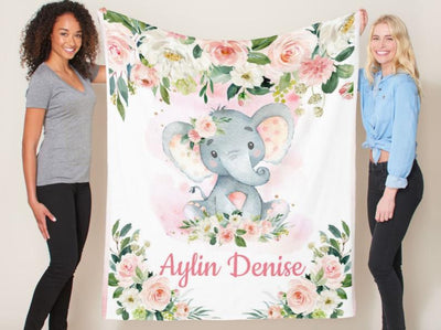 Personalize Baby Blanket(Elephant Design)