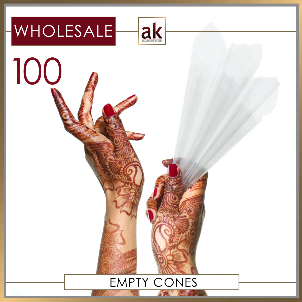 100 Empty Plastic Henna Cones - Ash Kumar Products UK
