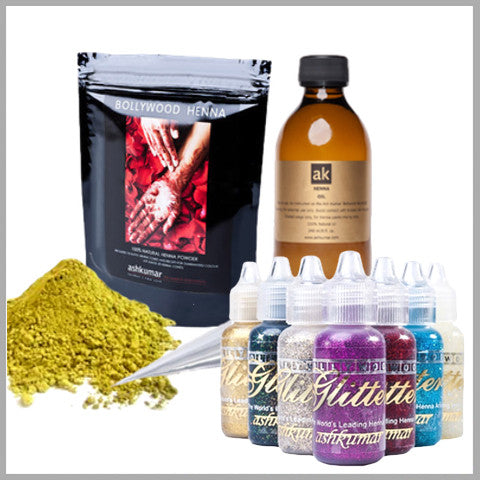 AK Henna, AK Henna Oil & Glitter Kit - Ash Kumar Products UK