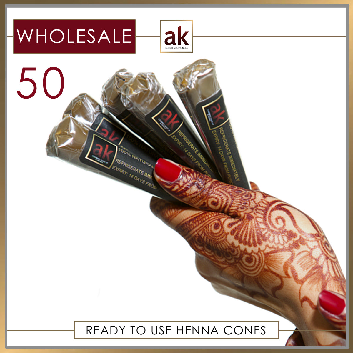 50 Ready To Use Henna Cones - Ash Kumar Products UK