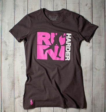 Run Harder Active Tee - Charcoal/Pink