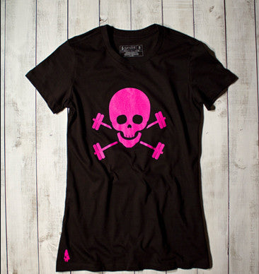 Skull & Barbells Active Tee - Black/Pink