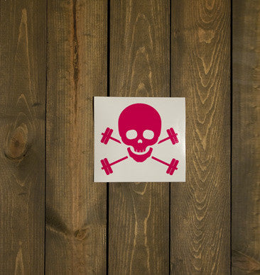 Skull & Barbells Decal - Pink