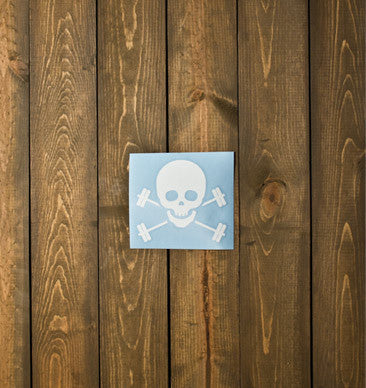 Skull & Barbells Decal - White