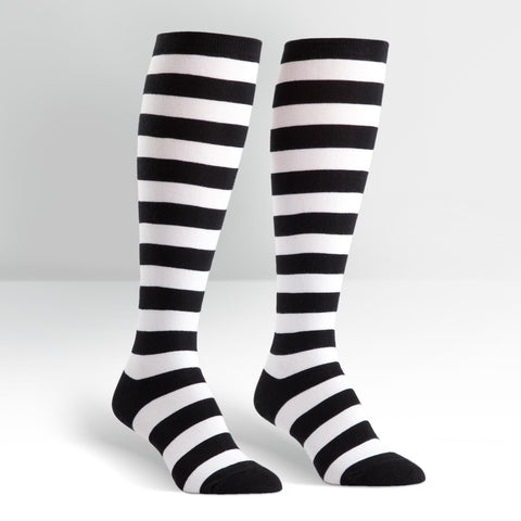Knee High Workout Socks - Black/White Striped