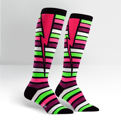 Knee High Workout Socks - Striped Bolt