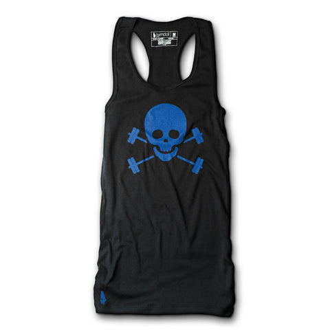 Skull & Barbells Active Tank - Navy/White