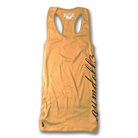 Gymdoll Racerback Active Tank - Cursive - Orange/Charcoal