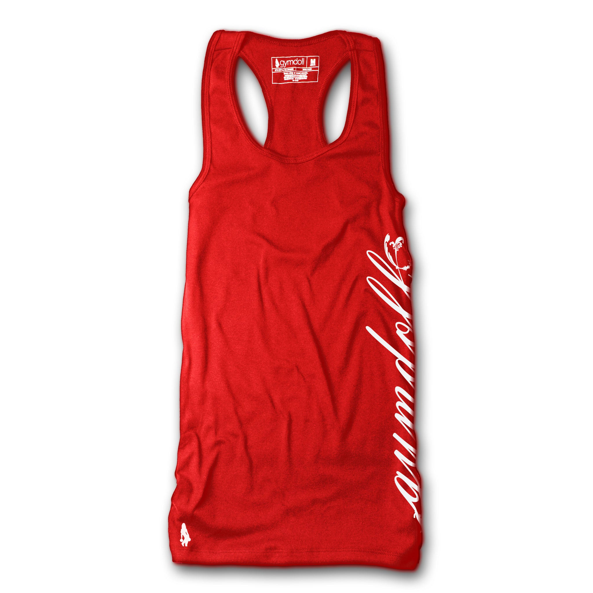Gymdoll Racerback Active Tank - Cursive - Red/White