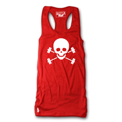 Skull & Barbells Active Tank - Red/White