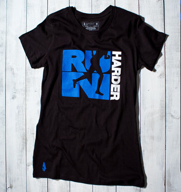Run Harder Active Tee - Black/Blue