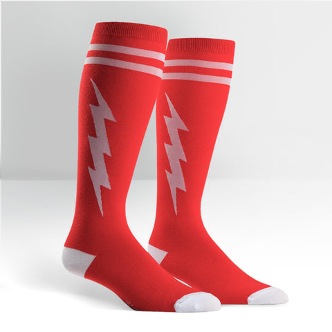 Knee High Workout Socks - Red/White Bolt