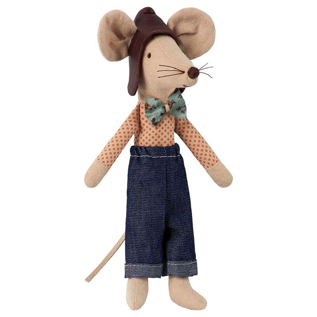 Maileg Dad Racer Mouse Children's Pretend Play Doll Toy brown hat bowtie denim pants orange spot shirt