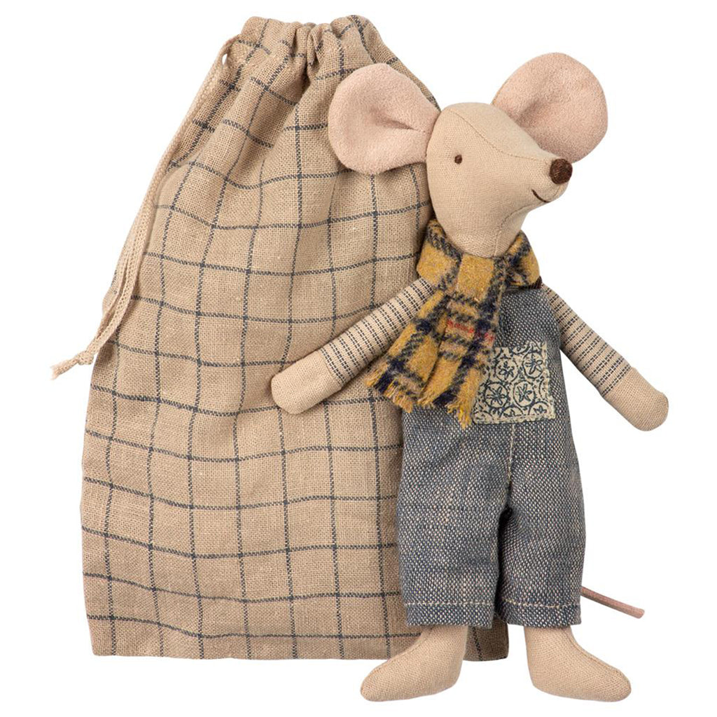 Maileg Winter Father Mouse in Bag Children's Pretend Play Doll Toy yellow plaid scarf with denim overalls