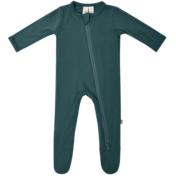 Kyte Baby Zipper Footie Infant Baby One-Piece Clothing Apparel emerald deep dark green