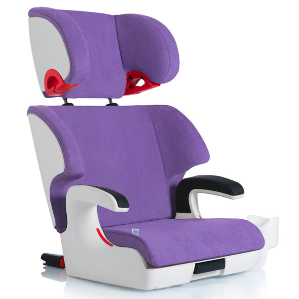 Clek Oobr Child Safety Booster Car Seat aura purple fabric white frame