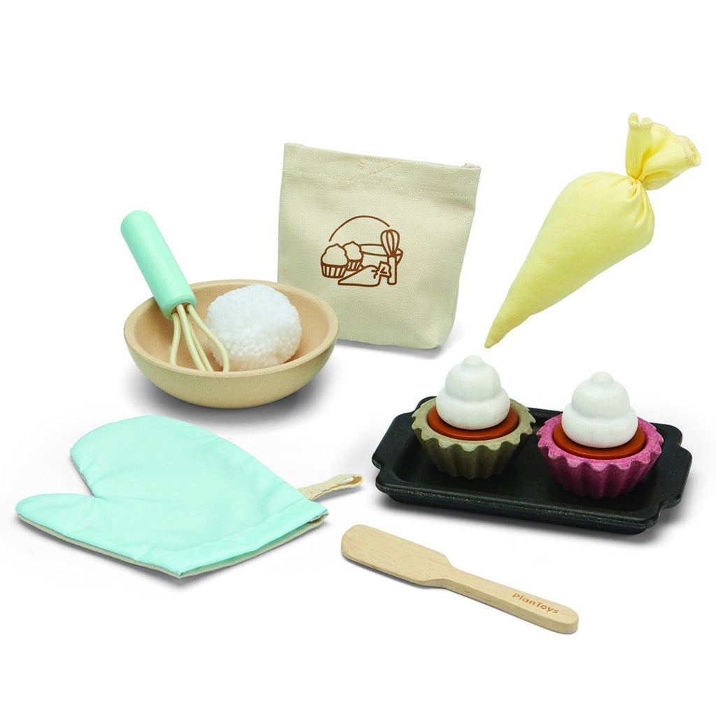 Plan Toys Cupcake Set Children's Pretend Play Kitchen Food Toy