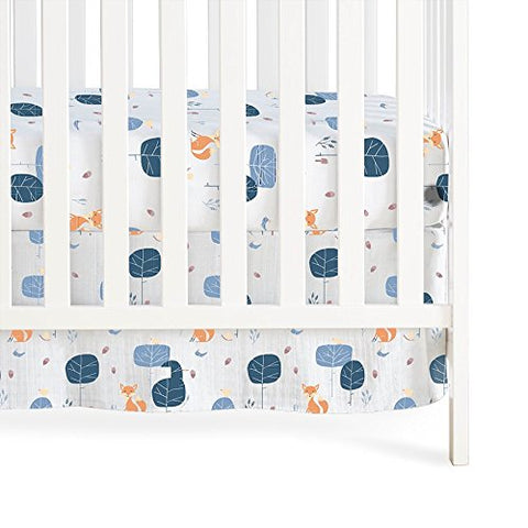Aden + Anais Into The Woods/Foxy Organic Crib Skirt white trees foxes