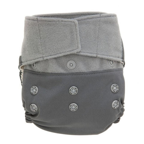 GroVia Hybrid Cloth Baby Diaper Hook & Loop Shell cloud dark grey