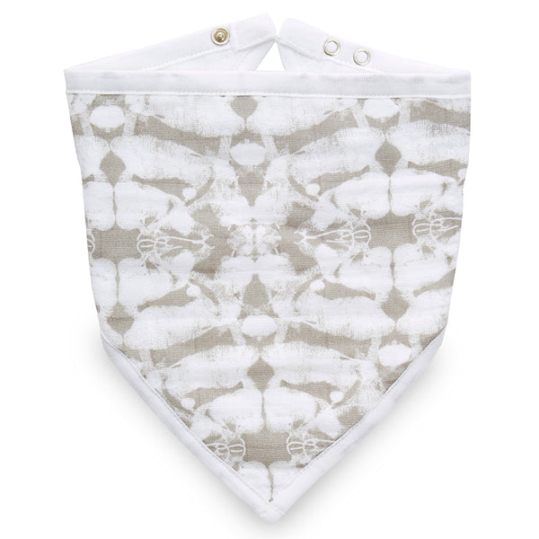 aden + anais Classic Bandana Bibs beetle print hear me roar light grey green