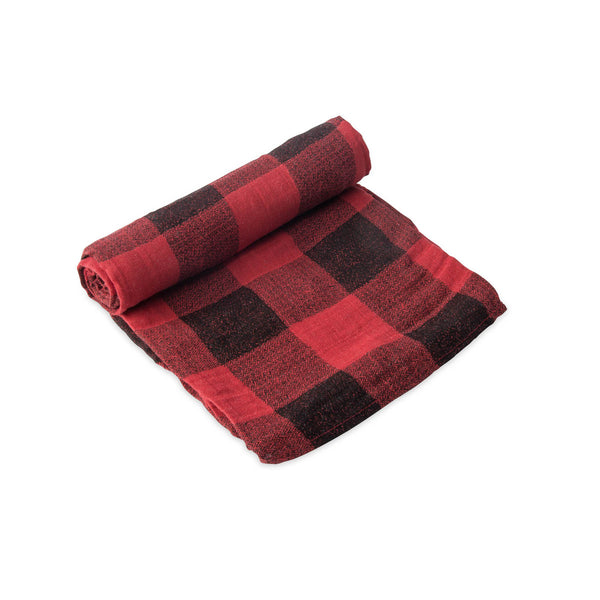 Little Unicorn Lightweight Breathable Single Cotton Baby Swaddle red plaid black