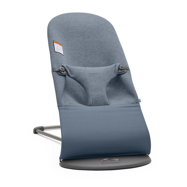 BabyBjorn Bliss Ergonomic Natural Movement Rocking Baby Bouncer jersey cotton dove blue slate