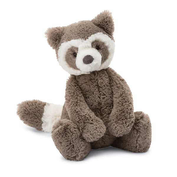 Jellycat Small Bashful Stuffed Animals racoon banded mask brown white