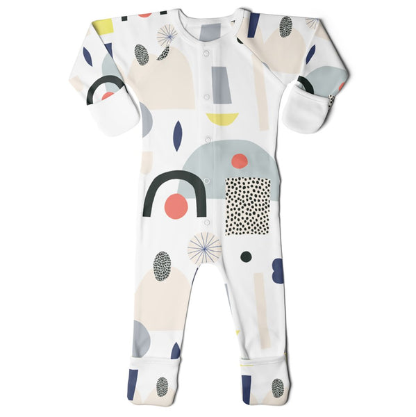 GoumiKids Infant Baby Organic GoumiAlls Convertible Footie Pajamas dream big kate pugsley artist abstract shapes multicolored