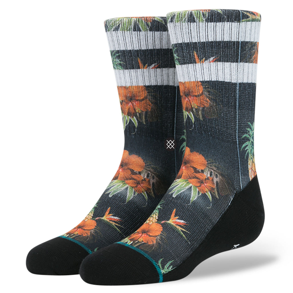 Stance Classic Toddler Boys Socks pattern pina floral black white orange