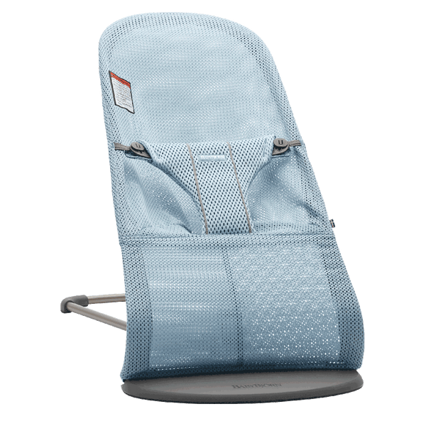 BabyBjorn Bliss Ergonomic Natural Movement Rocking Baby Bouncer mesh sky blue light