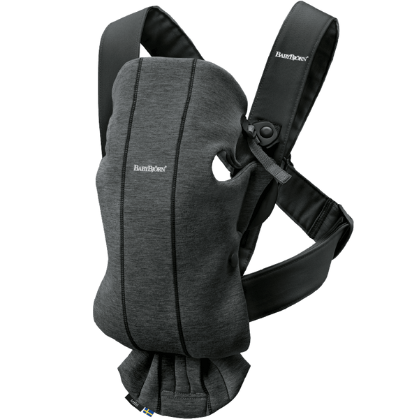 BabyBjorn Ergonomic Newborn Adjustable Baby Carrier Mini jersey cotton charcoal dark grey