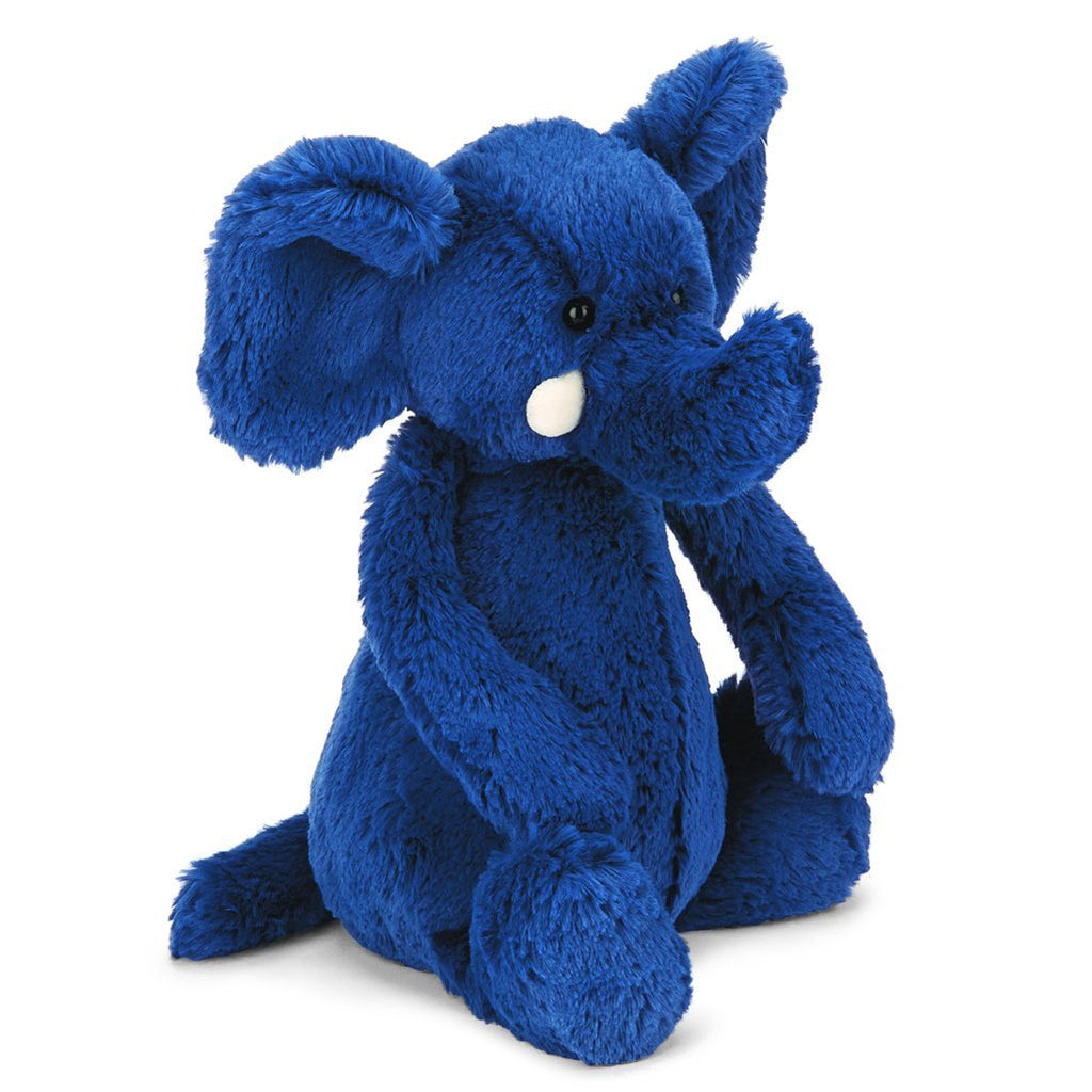 Jellycat Medium Bashful Stuffed Animals blue elephant dark