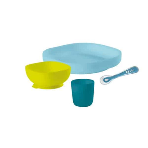 Béaba Silicone Children's Suction Bottom & No-Slip Meal Set peacock blue green lime yellow