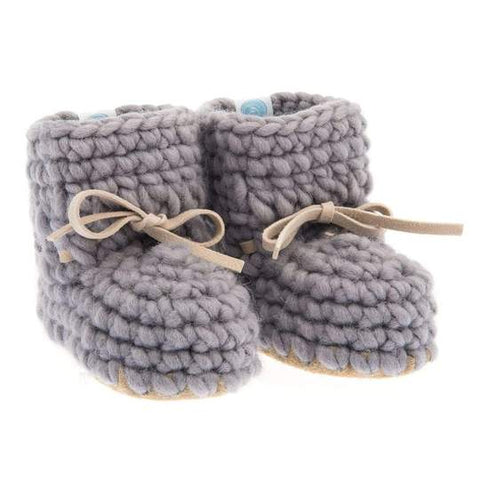 Beba Bean Grey Sweater Moccs Infant Baby Booties Shoe Accessory