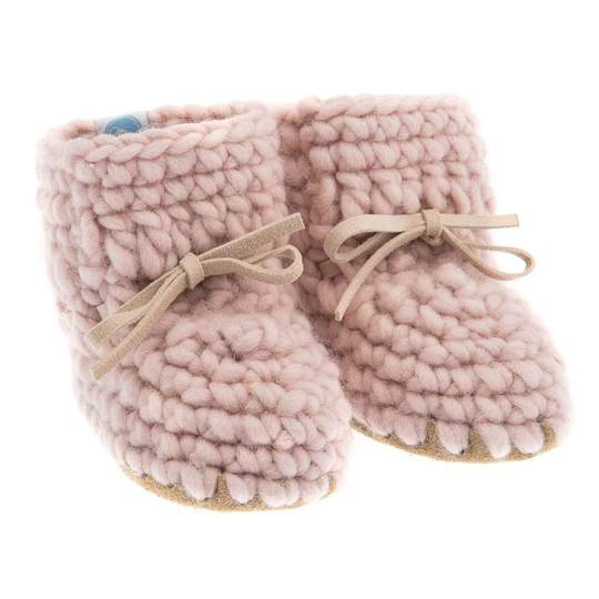 Beba Bean Pink Sweater Moccs Infant Baby Booties Shoe Accessory
